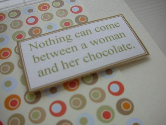 Greeting Card, Chocolate Theme, Funny Card, Womens Cards, Blank Card, Stationery, Notecard, Paper Goods, Home and Living