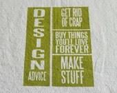 Design Advice - Green on Natural Flour Sack Dish Towel