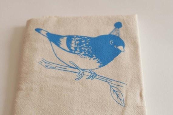 Party Bird - Arctic Blue on Natural Flour Sack Dish Towel