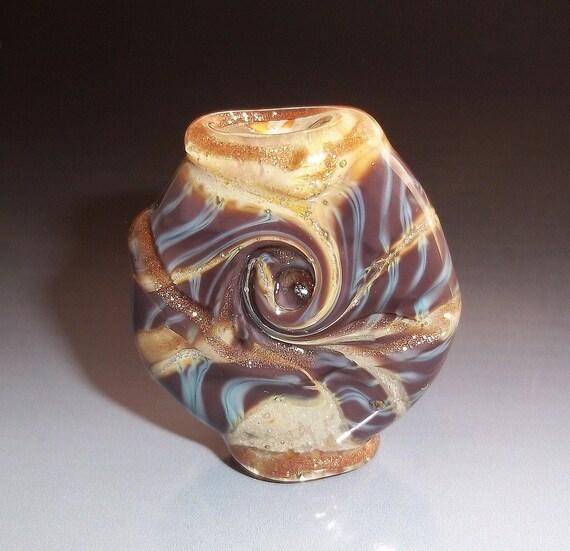 Lampwork Glass Focal Bead - COCOA SWIRL  - Brown Tan Organic SRA
