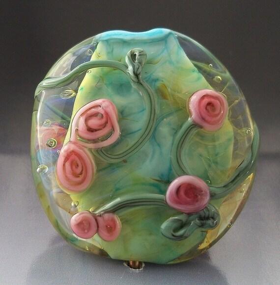 Handmade Lampwork PINK ROSEBUDS Glass Art Focal Aqua Green Floral Flower Lentil Bead sra