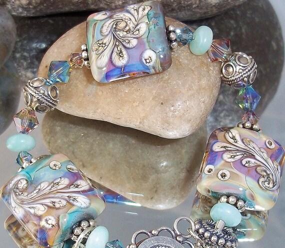 Tye Dye Bracelet Glass Art Lampwork Beaded Jewelry Sterling Silver Green Blue Aqua Organic OOAK  sra