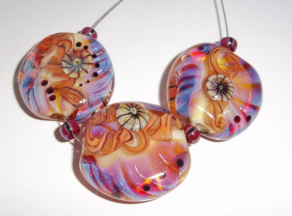 CORAL TWISTS - Set of Lampwork Beads Pink Coral Orange  - Majestic Glass
