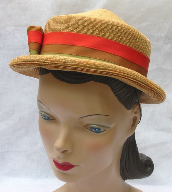 Clearance 1950's Vintage Sailor Bowler Hat by Lilly Dache' Dachettes