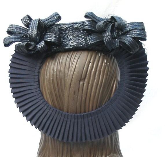 REDUCED 1940's Vintage Tilt Hat with Ruffled Back Loop
