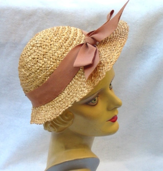 REDUCED 1950's Vintage Straw Hat with Bow by Knox 22