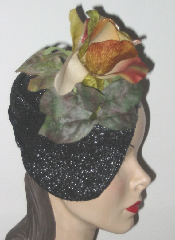 40's 50's Vintage Sally Victor Designer Hat With Rose From Ralph Rupley Houston