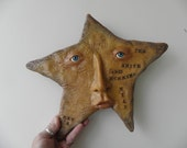ooak STAR face hand sculpted one of a kind Christmas TREE TOPPER ( 025 )by DinkyDarlings