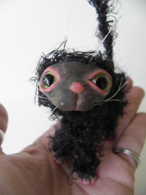 Tiny BLACK  KITTY CAT kitten fairy by DinkyDarlings (6)