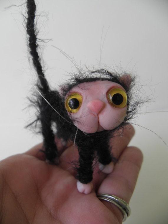 Tiny BLACK scruffy  KITTY CAT kitten fairy monster high accessory by DinkyDarlings ( 02)