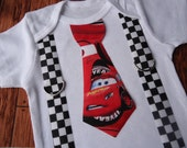 Cars Tie and checked flag Suspenders Onesie shirt ALSO avalible in toddler shirt