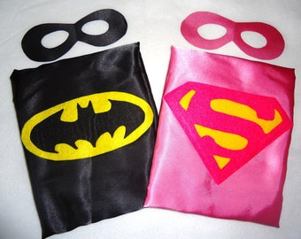 Superhero cape REVERSIBLE Bat Girl and Super Girl  WITH REVERSIBLE mask