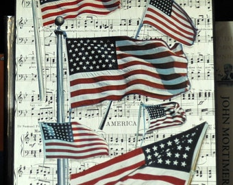 ARTWORK. The Star Spangled Banner. Art Collage Using Vintage Flag Illustrations and 1918 Music Sheet