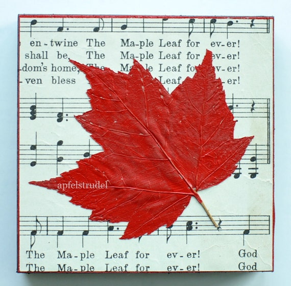 ARTWORK. Maple Leaf Forever Series 1. Recycled Art with Genuine Leaf on Wood Block using 1907 Music Sheet