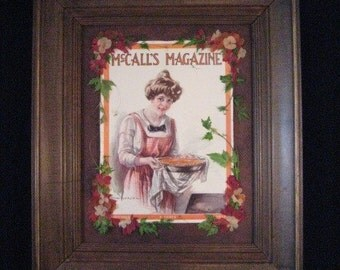 Pressed Flower Picture,Pressed Flowers and McCall's Magazine Cover, Orange Kitchen Decor, Fall Decor, Baking Picture, McCall's Baking