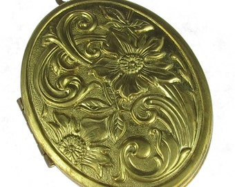 1 Brass Flower Floral Locket with Lip Gloss or Perfume Area 934