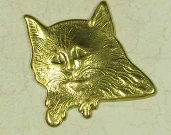 6 Raw Bare Naked Brass Kitty Cat Metal Stamping Jewelry Finding 811