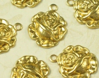 12 Raw Bare Naked Brass Rose Drops Charms Jewelry Finding 429