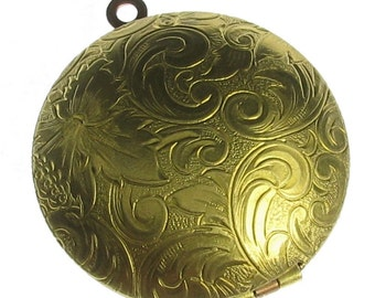 1 Brass Etched Flower Floral Lip Gloss Perfume Locket 936