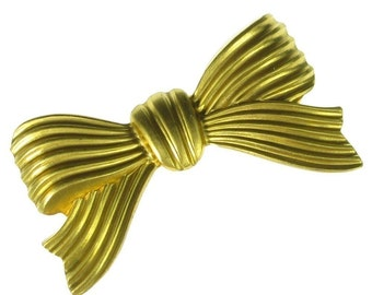 4 Raw Brass Large Stripped Bow Jewelry Finding 912