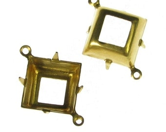 Square Pronged Settings 12mm Raw Brass with 2 rings at corners 893 - 12 Pcs