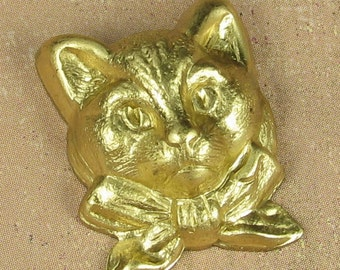 6 Raw Bare Naked Brass Kitty Cat Metal Stamping Jewelry Finding 1076