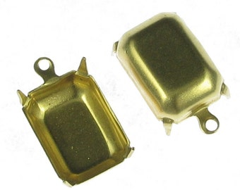 Brass Octagone 14 x 10 mm  Rhinestone Settings 1 Ring Charm 999 - 12 Pcs