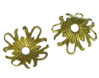 Brass Filigree wrapping Flower Bead Cap Earring Components 862 - 12 Pieces