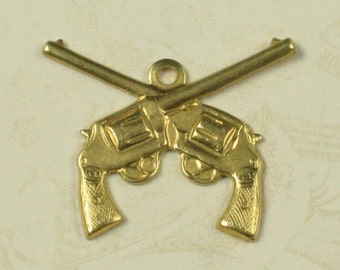 12 Pcs Raw Bare Naked Brass Dueling Guns Pistol Charms Finding 737
