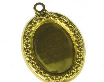 Brass 18x13 Setting Pendant Cameo Finding 874 - 6 Pieces