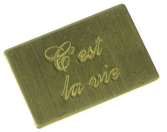 6 Small Raw Brass C'est La Vie Letters Only Jewelry Finding 746IC
