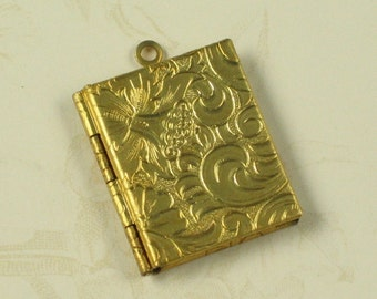 1 Pcs Raw Bare Naked Brass Book Lockets Charms Pendants 763