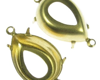 Brass Pear Settings 18x13 with 2 Rings 932 - 12 pieces