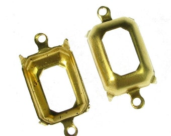 Brass 14x10 Octagon Brass Prong Setting with 2 Rings 889 - 12 Pcs