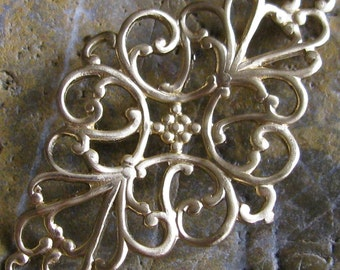 6 Raw Natural Brass Victorian Filigree Jewelry Findings 512