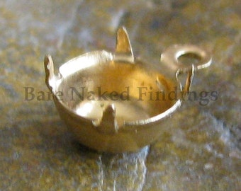 Brass Round Gem Stone Setting 6mm Finding 684 - 24 Pieces