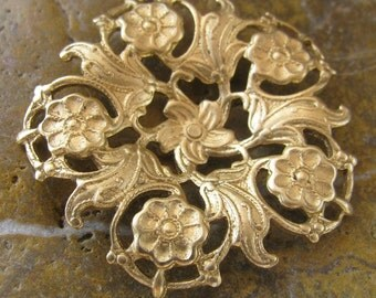 3 Raw Bare Naked Brass Flower Round Filigree Stamping Embellishment 437