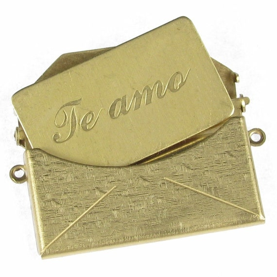 Brass Envelope Charms with Message Te amo Love Letter  - Large Size and Textured 745TS - 2 Sets