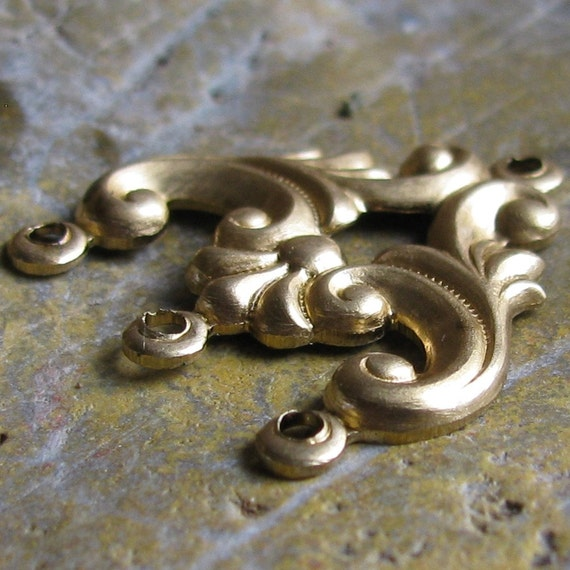 Brass Jewelry Connectors Brass Stampings for Jewelry 664 - 6 Pcs