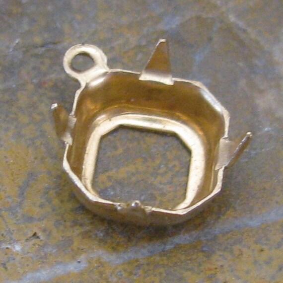 Octagon Rhinestone Pronged Settings Brass 8mm 1 Ring 1157 - 12 Pcs
