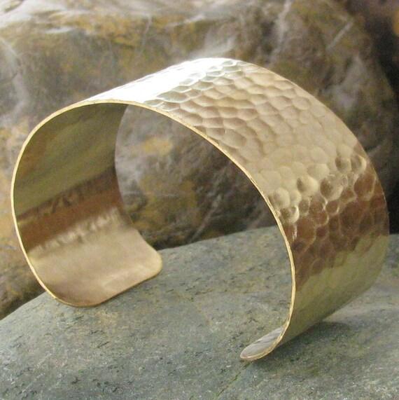 Hammered Cuff Bracelet Raw Brass 1 1/8 inch wide Bracelet 1129 - 1 Piece