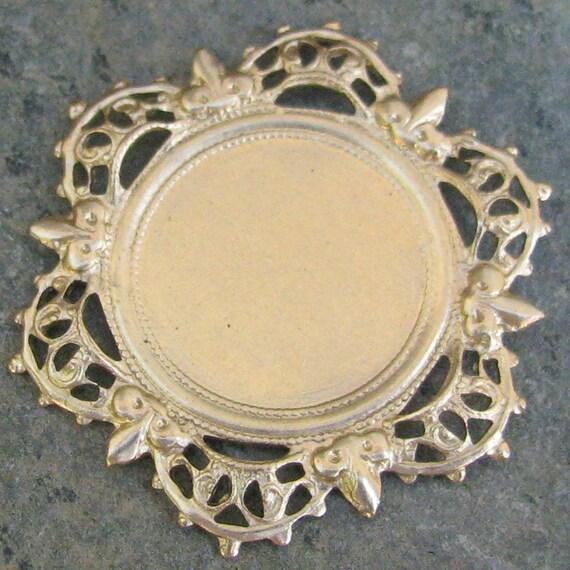 Brass Round Filigree Setting 18mm Jewelry Supplies 1323 - 6 Pcs
