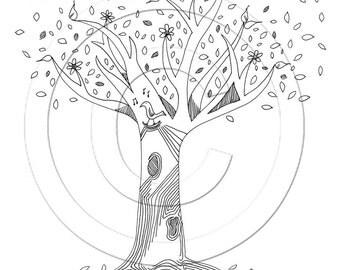 Flower Blossom Tree With Song Bird .. 8.5 x 11 fine art print