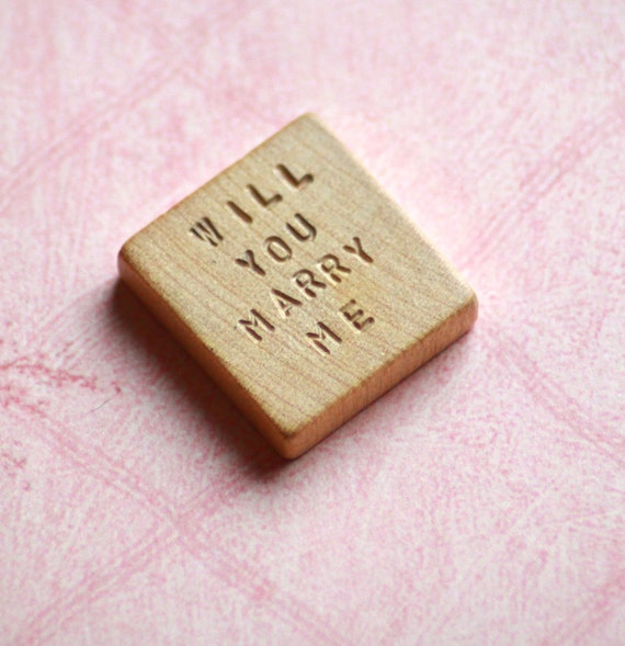 Will You Marry Me .. Vintage Blank Scrabble Tile .. Hand stamped .. Awesome unique marriage proposal .. engraved keepsake