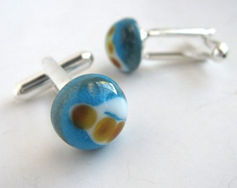 Turquoise and Three Dot Glass Planet Cufflinks