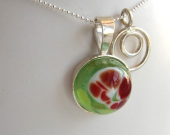 Sea Green, Red and White Planet Necklace with Charm