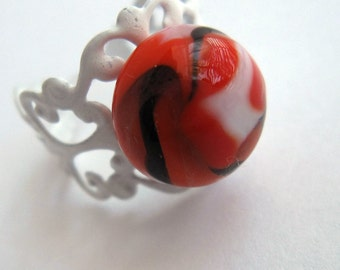 Carrot Red Lampwork Glass Planet Ring