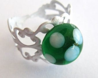 Green with White Polka Dots Glass Planet Ring