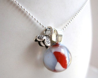 Periwinkle, Red and White Dwarf Planet Necklace with Charm