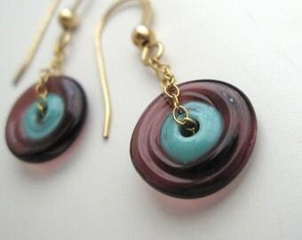 Turquoise and Purple Glass Amoeba Earrings